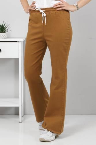 Tesettür Dünyası - İspanyol Paça Kot Pantolon TSD22014 Kahverengi