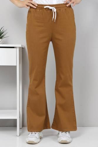 Tesettür Dünyası - İspanyol Paça Kot Pantolon TSD22014 Kahverengi (1)