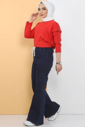 Tesettür Dünyası - İspanyol Paça Kot Pantolon TSD22014 Koyu Mavi