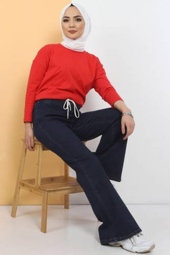 Tesettür Dünyası - İspanyol Paça Kot Pantolon TSD22014 Koyu Mavi (1)