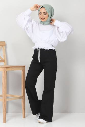Tesettür Dünyası - İspanyol Paça Kot Pantolon TSD22014 Siyah