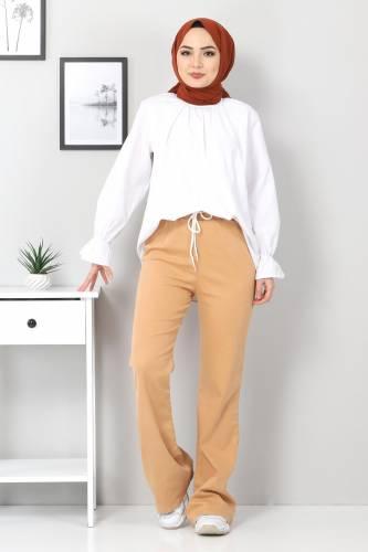 Tesettür Dünyası - İspanyol Paça Kot Pantolon TSD22014 Taba