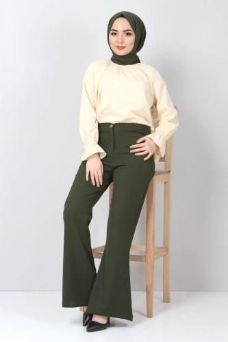 Tesettür Dünyası - İspanyol Paça Kumaş Pantolon TSD10620 Haki