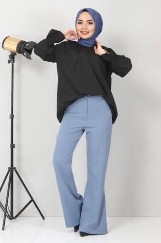 Tesettür Dünyası - İspanyol Paça Kumaş Pantolon TSD10620 Mavi