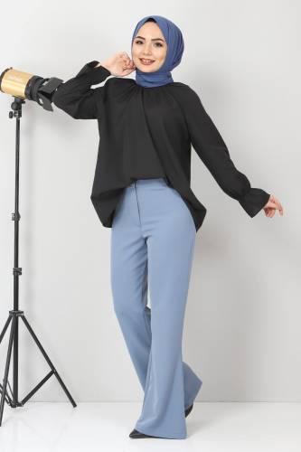 Tesettür Dünyası - İspanyol Paça Kumaş Pantolon TSD10620 Mavi (1)