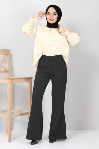 Tesettür Dünyası - İspanyol Paça Kumaş Pantolon TSD10620 Siyah