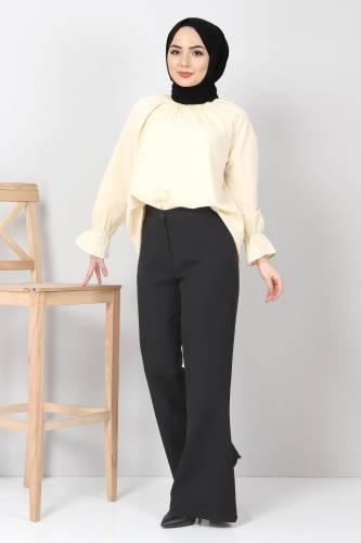 Tesettür Dünyası - İspanyol Paça Kumaş Pantolon TSD10620 Siyah (1)