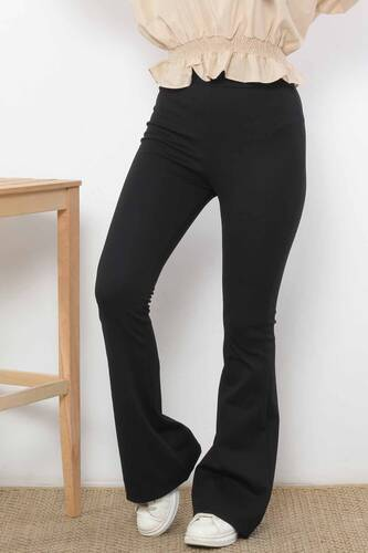 Tesettür Dünyası - İspanyol Paça Tayt Pantolon TSD2610 Siyah