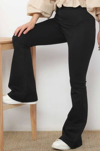 Tesettür Dünyası - İspanyol Paça Tayt Pantolon TSD2610 Siyah (1)