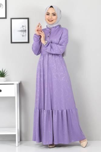 Tesettür Dünyası - Jakarlı Tesettür Elbise TSD4432 Lila