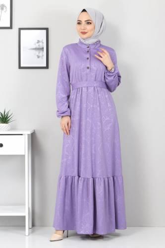 Tesettür Dünyası - Jakarlı Tesettür Elbise TSD4432 Lila (1)
