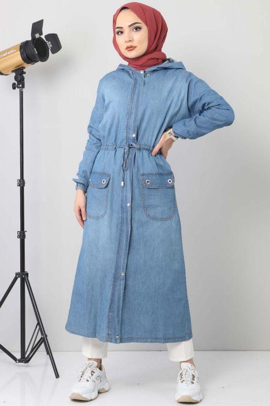 Jeans Cap with Pocket Detail TSD1634 Light Blue
