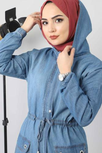 Jeans Cap with Pocket Detail TSD1634 Light Blue - Thumbnail