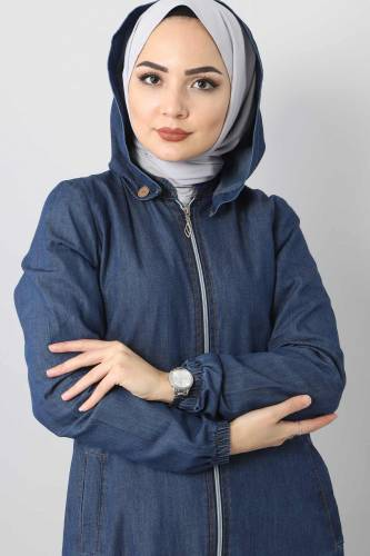 Jeans Hijab Abaya With Buttons Detail TSD 8220 Navy Blue - Thumbnail