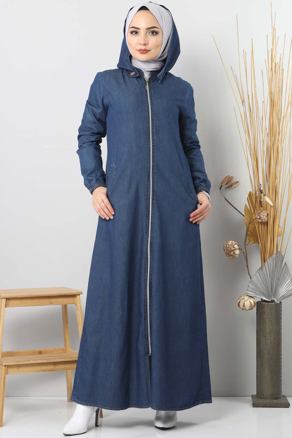Jeans Hijab Abaya With Buttons Detail TSD 8220 Navy Blue