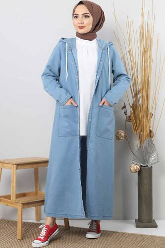 Jeans Long Blazer TSD4163 Light Blue - Thumbnail