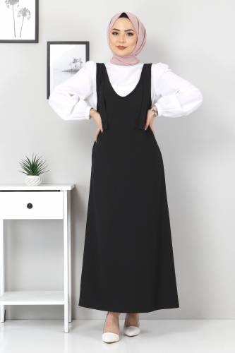 Tesettür Dünyası - Jile Bluz İkili Takım TSD6311 Siyah