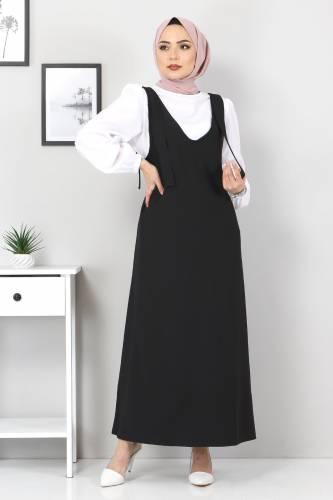 Tesettür Dünyası - Jile Bluz İkili Takım TSD6311 Siyah (1)
