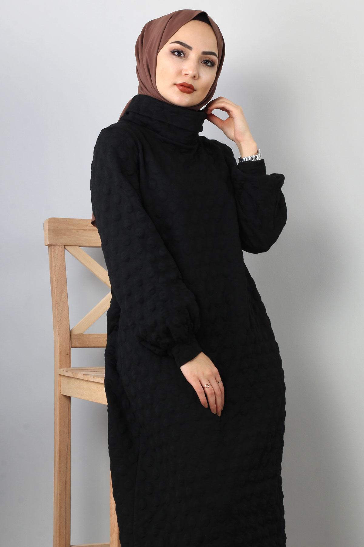 Kabartma Puantiyeli Kapitone Elbise TSD0075 Siyah