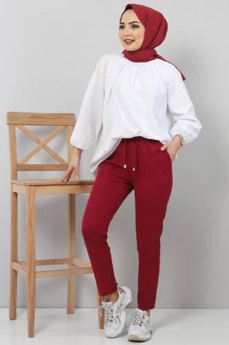 Tesettür Dünyası - Pencil Trousers TSD0222 Claret Red