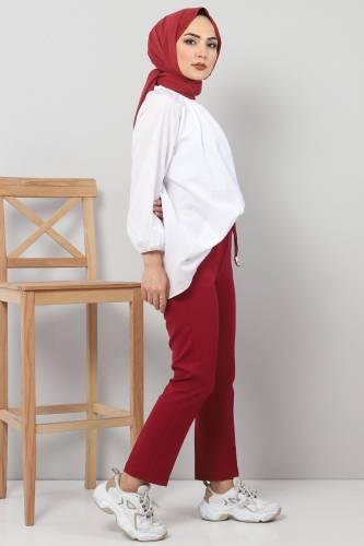 Tesettür Dünyası - Pencil Trousers TSD0222 Claret Red (1)