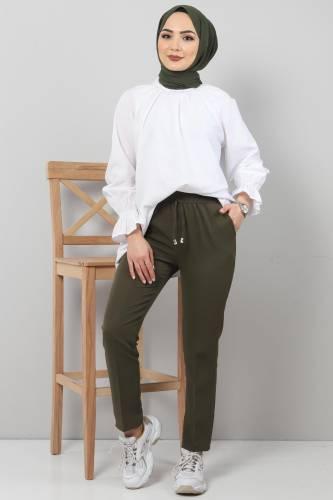 Tesettür Dünyası - Pencil Trousers TSD0222 Khaki