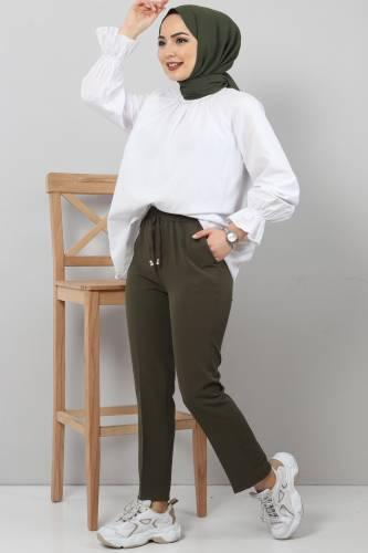 Tesettür Dünyası - Pencil Trousers TSD0222 Khaki (1)