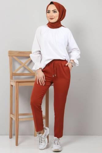 Tesettür Dünyası - Pencil Trousers TSD0222 Brick Color.