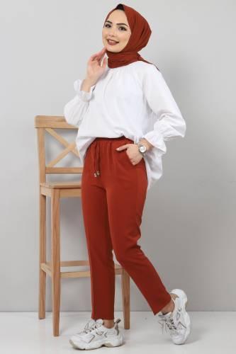 Tesettür Dünyası - Pencil Trousers TSD0222 Brick Color. (1)