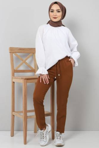 Tesettür Dünyası - Pencil Trousers TSD0222 Tobacco Color.