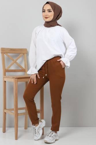 Tesettür Dünyası - Pencil Trousers TSD0222 Tobacco Color. (1)