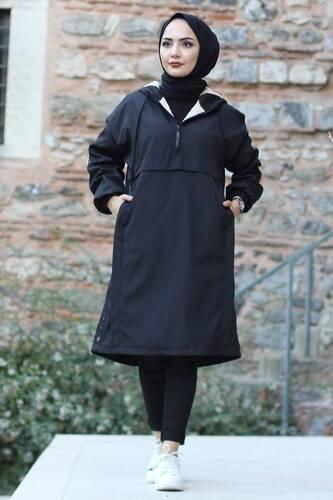 Kangaroo Pocket Fur Coat TSD1415 Black - Thumbnail