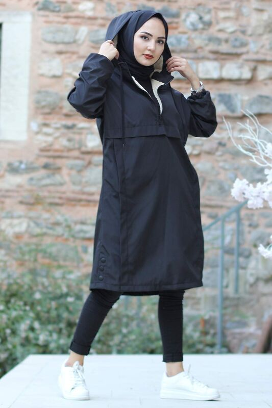 Kangaroo Pocket Fur Coat TSD1415 Black