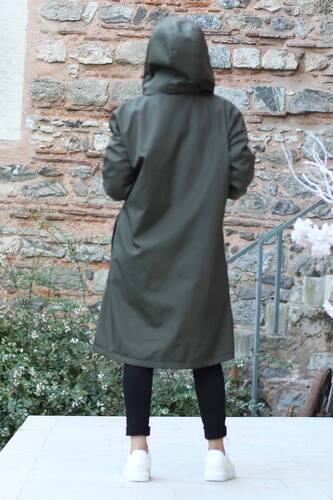 Kangaroo Pocket Furry Coat TSD1415 Khaki - Thumbnail