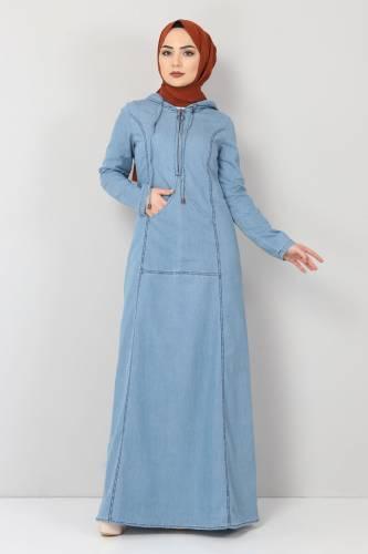 Tesettür Dünyası - Kanguru Cepli Kot Elbise TSD04129 Açık Mavi