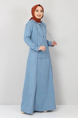 Tesettür Dünyası - Kanguru Cepli Kot Elbise TSD04129 Açık Mavi (1)