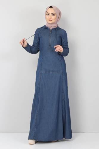 Tesettür Dünyası - Kanguru Cepli Kot Elbise TSD04129 Koyu Mavi