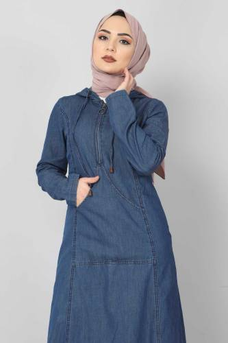 Tesettür Dünyası - Kanguru Cepli Kot Elbise TSD04129 Koyu Mavi (1)