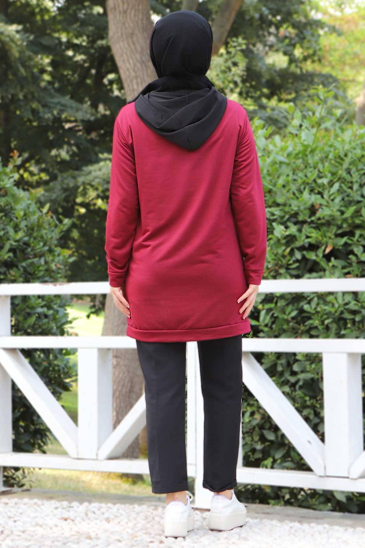 Kanguru Cepli Sweatshirt TSD3320 Bordo