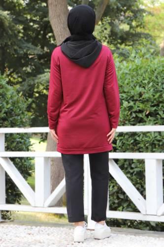 Kanguru Cepli Sweatshirt TSD3320 Bordo - Thumbnail