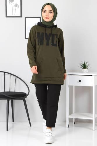 Tesettür Dünyası - Kanguru Cepli Sweatshirt TSD3320 Haki