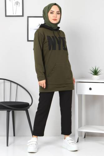 Tesettür Dünyası - Kanguru Cepli Sweatshirt TSD3320 Haki (1)