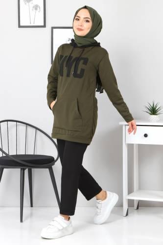 Kanguru Cepli Sweatshirt TSD3320 Haki - Thumbnail