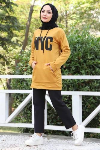 Tesettür Dünyası - Kanguru Cepli Sweatshirt TSD3320 Hardal