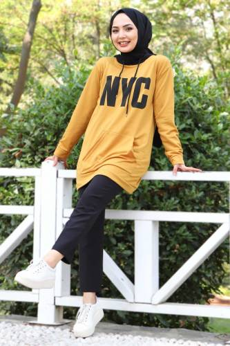 Tesettür Dünyası - Kanguru Cepli Sweatshirt TSD3320 Hardal (1)