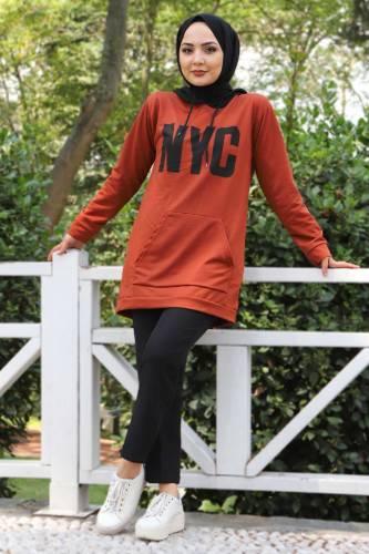Tesettür Dünyası - Kanguru Cepli Sweatshirt TSD3320 Kiremit