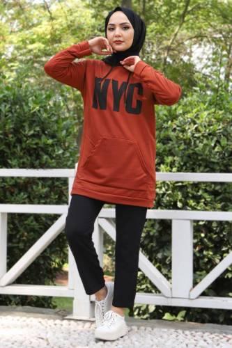 Kanguru Cepli Sweatshirt TSD3320 Kiremit - Thumbnail