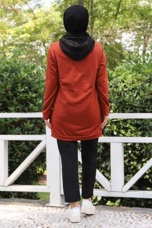 Kanguru Cepli Sweatshirt TSD3320 Kiremit