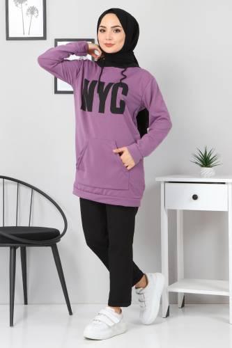 Tesettür Dünyası - Kanguru Cepli Sweatshirt TSD3320 Lila