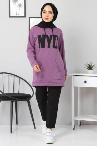Tesettür Dünyası - Kanguru Cepli Sweatshirt TSD3320 Lila (1)